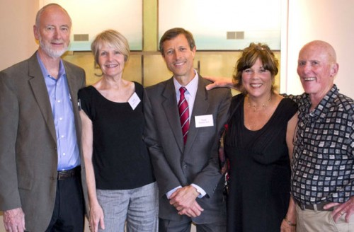 Don Forrester, M.D., Elizabeth Forrester, Ph.D., Neal Barnard, M.D., Linda Middlesworth, and David Middlesworth, Ph.D., at a reception prceding a standing-room-only lecture and book signing.